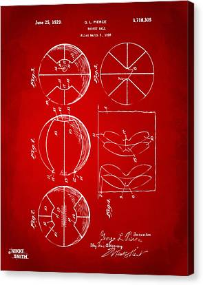 1929 Basketball Patent Artwork - Red Canvas Print by Nikki Marie Smith