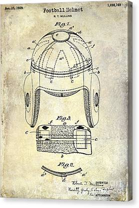 1929 Football Helmet Patent Drawing Canvas Print by Jon Neidert