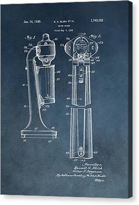 1930 Drink Mixer Patent Blue Canvas Print by Dan Sproul