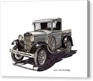 1930 Ford Model A Pick Up Canvas Print by Jack Pumphrey