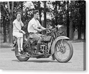 1930s Motorcycle Touring Canvas Print by Daniel Hagerman