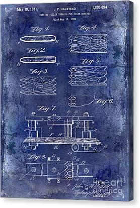 1931 Cigar Filler Patent Drawing Blue Canvas Print by Jon Neidert