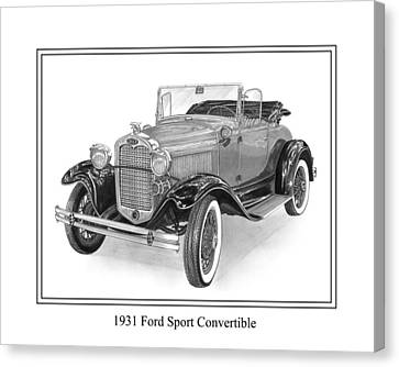 1931 Ford Convertible Canvas Print by Jack Pumphrey