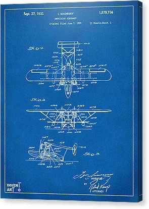 1932 Amphibian Aircraft Patent Blueprint Canvas Print by Nikki Marie Smith