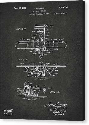 1932 Amphibian Aircraft Patent Gray Canvas Print by Nikki Marie Smith