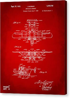 1932 Amphibian Aircraft Patent Red Canvas Print by Nikki Marie Smith