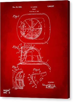 1932 Fireman Helmet Artwork Red Canvas Print by Nikki Marie Smith