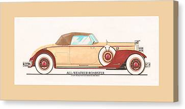 1932 Packard All Weather Roadster By Dietrich Concept Canvas Print by Jack Pumphrey