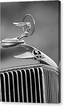 1933 Pontiac Hood Ornament - Emblem -0385bw Canvas Print by Jill Reger