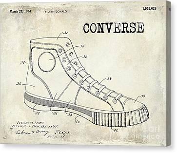 1934 Converse Shoe Patent Drawing Canvas Print by Jon Neidert