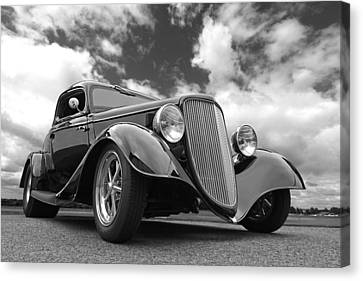 1934 Ford Coupe In Black And White Canvas Print by Gill Billington