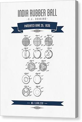1935 India Rubber Ball Patent Drawing - Retro Navy Blue Canvas Print by Aged Pixel