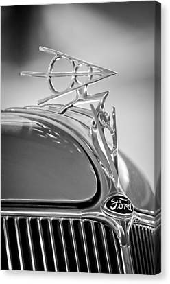 1936 Ford Deluxe Roadster Hood Ornament 2 Canvas Print by Jill Reger