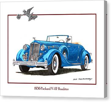 1936 Packard V 12 Roadster Canvas Print by Jack Pumphrey