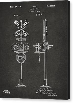 1936 Rail Road Crossing Sign Patent Artwork - Gray Canvas Print by Nikki Marie Smith