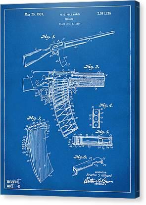 1937 Police Remington Model 8 Magazine Patent Artwork - Blueprin Canvas Print by Nikki Marie Smith