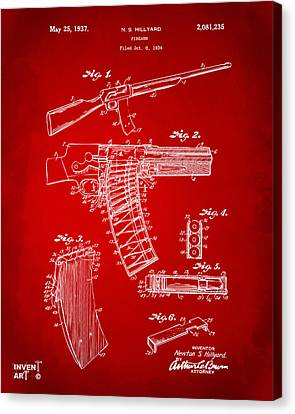 1937 Police Remington Model 8 Magazine Patent Artwork - Red Canvas Print by Nikki Marie Smith