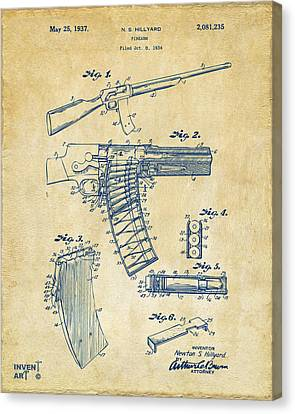 1937 Police Remington Model 8 Magazine Patent Artwork - Vintage Canvas Print by Nikki Marie Smith
