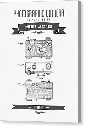 1938 Photographic Camera Patent Drawing - Retro Gray Canvas Print by Aged Pixel