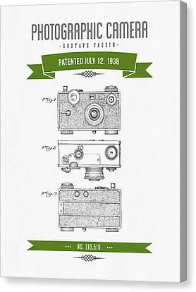 1938 Photographic Camera Patent Drawing - Retro Green Canvas Print by Aged Pixel