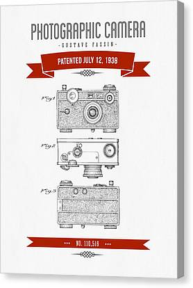 1938 Photographic Camera Patent Drawing - Retro Red Canvas Print by Aged Pixel