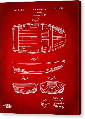 1938 Rowboat Patent Artwork - Red Canvas Print by Nikki Marie Smith