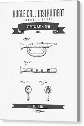 1939 Bugle Call Instrument Patent Drawing Canvas Print by Aged Pixel