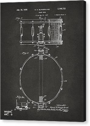 1939 Snare Drum Patent Gray Canvas Print by Nikki Marie Smith