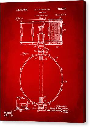 1939 Snare Drum Patent Red Canvas Print by Nikki Marie Smith