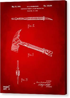 1940 Firemans Axe Artwork Red Canvas Print by Nikki Marie Smith