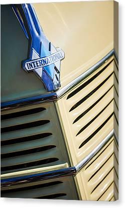 1940 International D-2 Station Wagon Grille Emblem Canvas Print by Jill Reger