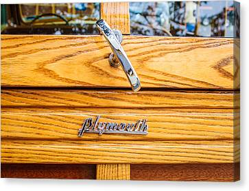 1940 Plymouth Deluxe Woody Wagon Emblem Canvas Print by Jill Reger
