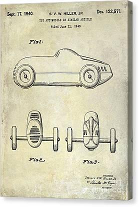1940 Toy Car Patent Drawing Canvas Print by Jon Neidert