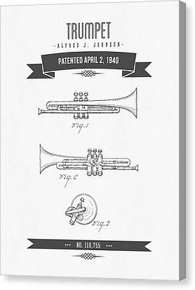 1940 Trumpet Patent Drawing Canvas Print by Aged Pixel