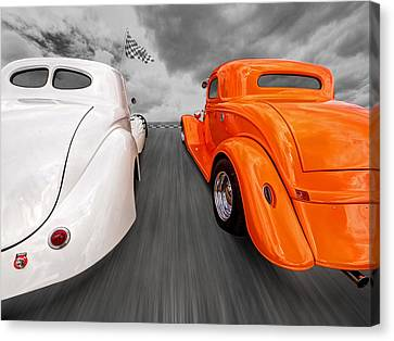 1941 Willys Vs 1934 Ford Coupe Canvas Print by Gill Billington