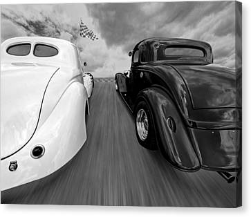1941 Willys Vs 1934 Ford Coupe In Black And White Canvas Print by Gill Billington