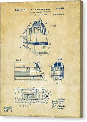 1941 Zephyr Train Patent Vintage Canvas Print by Nikki Marie Smith