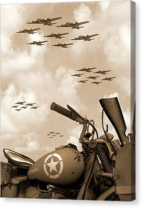 1942 Indian 841 - B-17 Flying Fortress' Canvas Print by Mike McGlothlen