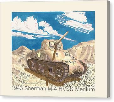 1943 Sherman M 4 Medium Taqnk Canvas Print by Jack Pumphrey