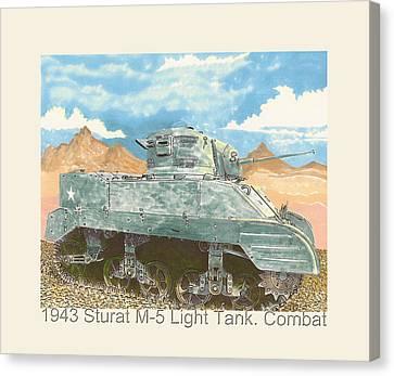 1943 Stuart M-5 Light Tank Combat Canvas Print by Jack Pumphrey