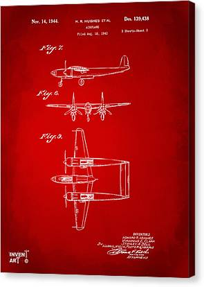 1944 Howard Hughes Airplane Patent Artwork 3 Red Canvas Print by Nikki Marie Smith