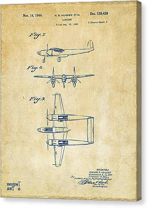 1944 Howard Hughes Airplane Patent Artwork 3 Vintage Canvas Print by Nikki Marie Smith