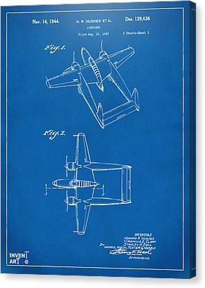 1944 Howard Hughes Airplane Patent Artwork Blueprint Canvas Print by Nikki Marie Smith