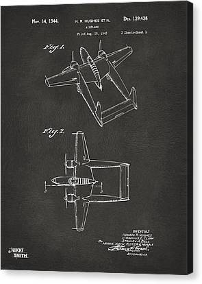 1944 Howard Hughes Airplane Patent Artwork - Gray Canvas Print by Nikki Marie Smith