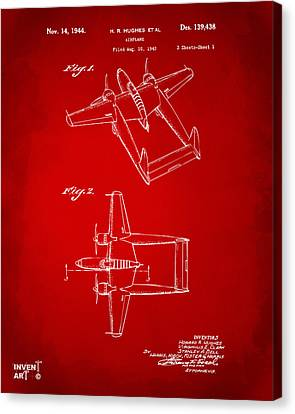 1944 Howard Hughes Airplane Patent Artwork Red Canvas Print by Nikki Marie Smith