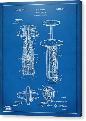 1944 Wine Corkscrew Patent Artwork - Blueprint Canvas Print by Nikki Marie Smith