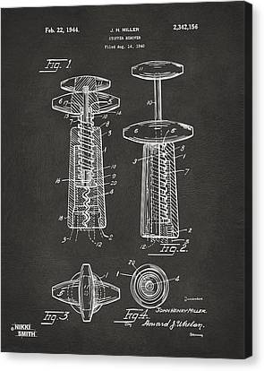 1944 Wine Corkscrew Patent Artwork - Gray Canvas Print by Nikki Marie Smith