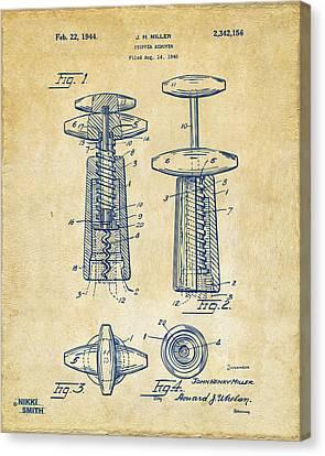 1944 Wine Corkscrew Patent Artwork - Vintage Canvas Print by Nikki Marie Smith