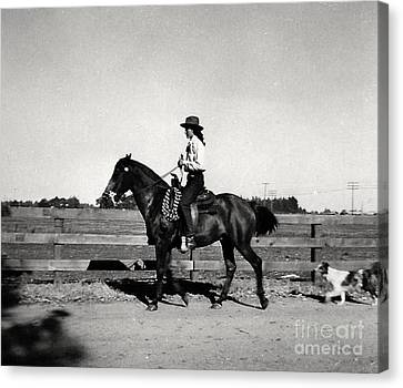1946 Phyllis And Spunky And Spot Canvas Print by Phyllis Kaltenbach
