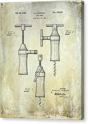 1948 Corkscrew Patent Drawing Canvas Print by Jon Neidert
